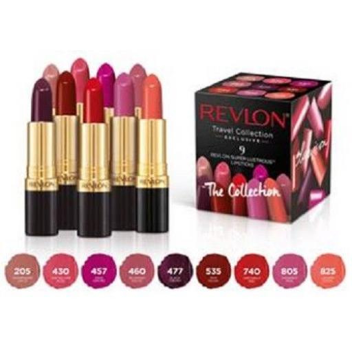 9 x Revlon Super Lustrous Lipsticks | Exclusive Travel Collection Pack | 9 Shade