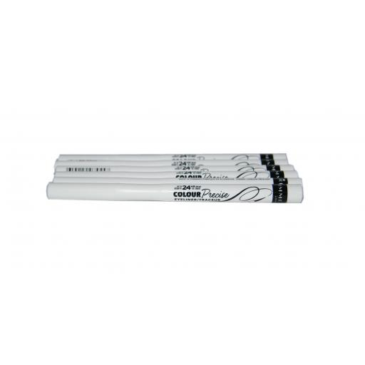 6 x Rimmel Colour Precise Eyeliner | 003 White | RRP £18 | Clean & Dramatic