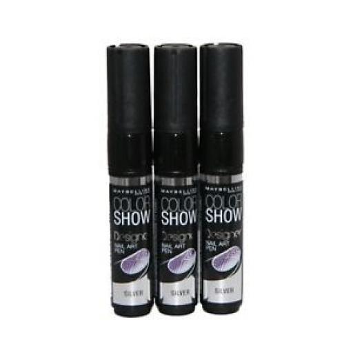 3 x Maybelline Colour Show Designer Nail Art Pen | Colour Silver | Wholesale |