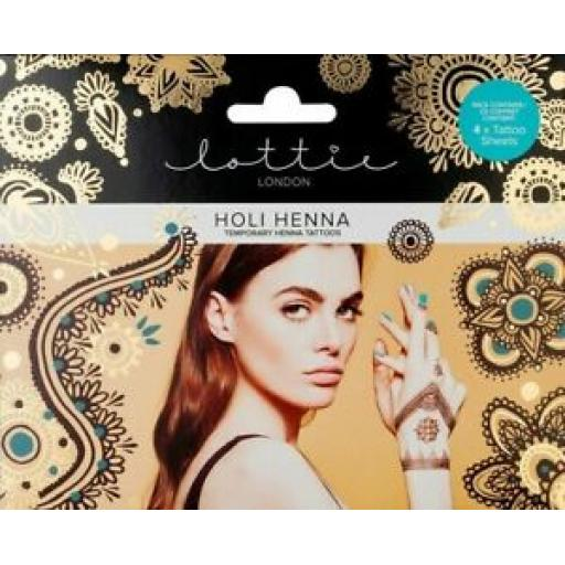 Lottie London | Holi Henna | Temporary Henna Tattoos | 4 x Tattoo Sheets