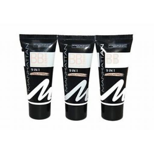 3 x Manhattan BB Cream Beauty Balm 9 in 1 | Medium to Dark Skin