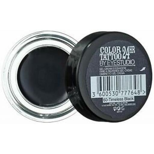 2 x Maybelline Colour Tattoo 24hr Eyeshadow | Immortal Charcoal | Metallic