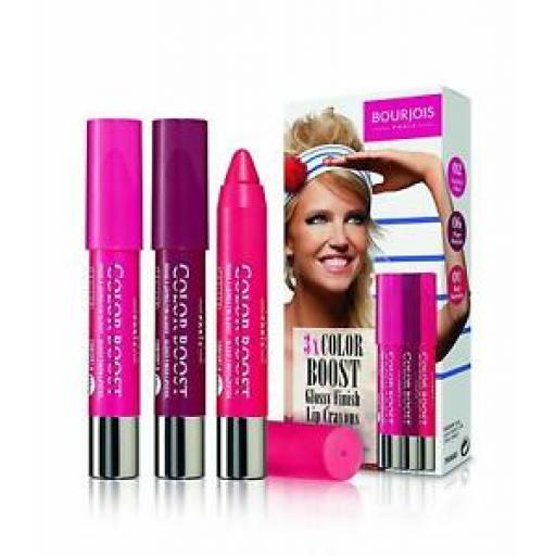 Bourjois Paris Colour Boost Glossy Finish Lip Crayon Set | Waterproof | 3 Colour