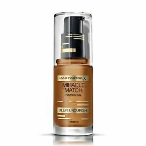 3 x Max Factor Miracle Match Foundation | Tawny 95 | Blur & Nourish | RRP £39