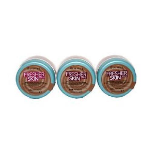 3 x Rimmel Fresher Skin Breathable Natural Finish Foundation | Deep Mocha |